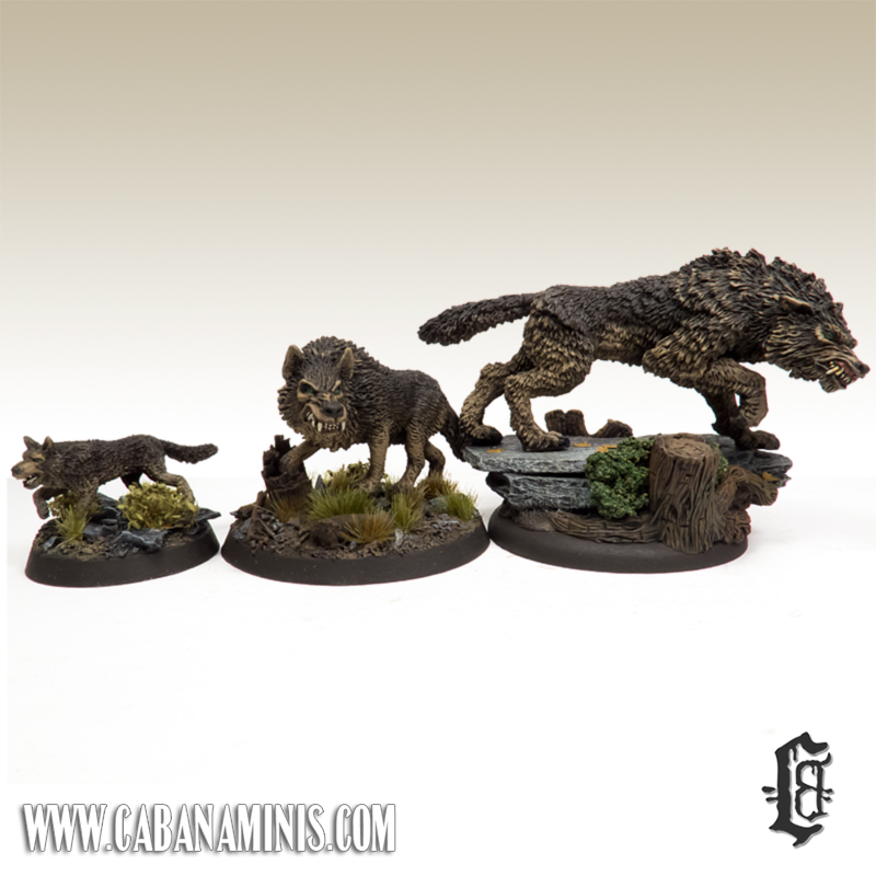 Monstrous Direwolf and Lesser Wolves